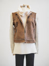 Tribal Knit Sleeve Brown Suede Coat