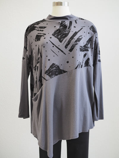 Chalet Women's Clothing Presley Grey Printed Bamboo Tunic