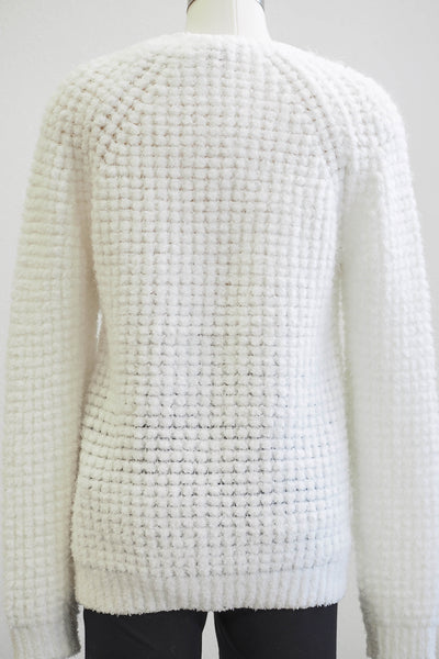 Tribal Soft White Crew Sweater