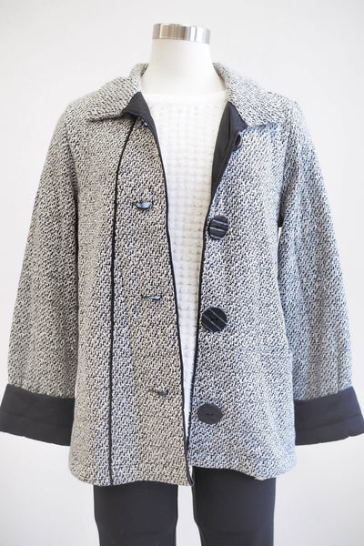 Habitat Quilted Button White/Black Coat - Women's Fashion
