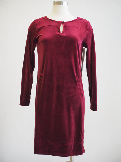 Tribal Red Velvet Long Sleeve Pocket Holiday  Dress - Women's Clothing