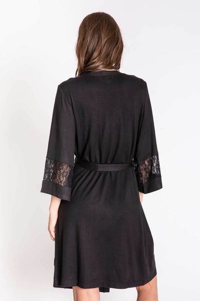 PJ Salvage Heart to Heart Black Soft Lace Robe