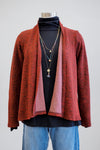 Cut Loose Cognac Red Draped Cardigan