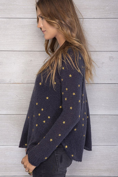 Wooden Ships Mini Stars Metallic V-Neck Sweater