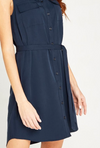 Apricot Navy Tie Waist Sleeveless Utility Dress