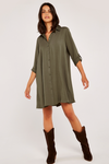 Apricot Swing Shirt Dress in Khaki Green