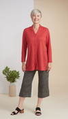 Habitat Linen Knit Button Front Cardi Coral Sunset