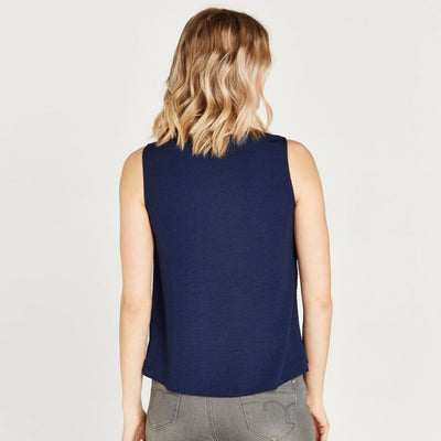 Apricot Navy Frilled Sleeveless Tank