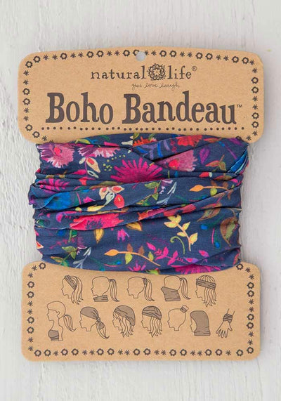 Natural Life Boho Bandeau Navy Wildflowers