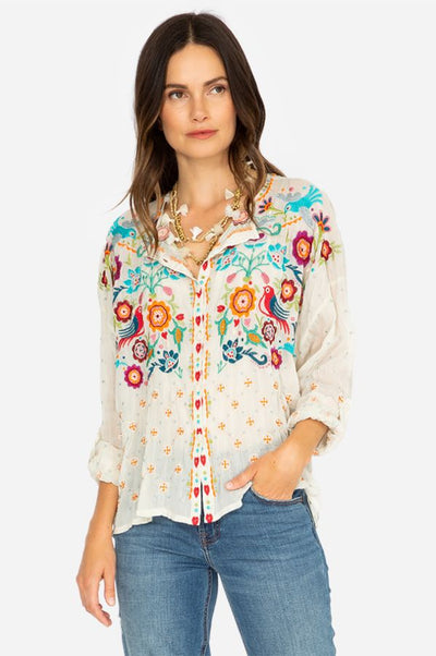 Johnny Was Brady Button Down Shell Embroidered Blouse