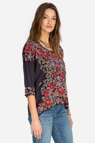 Johnny Was Grey Onyx Leopard Rose Blouse