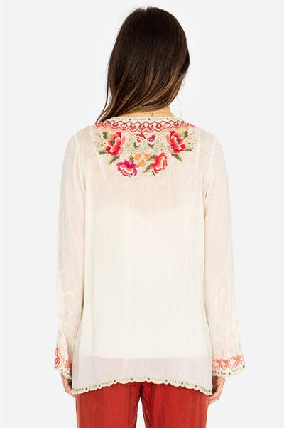 Johnny Was Cristabella White Embroidered Blouse