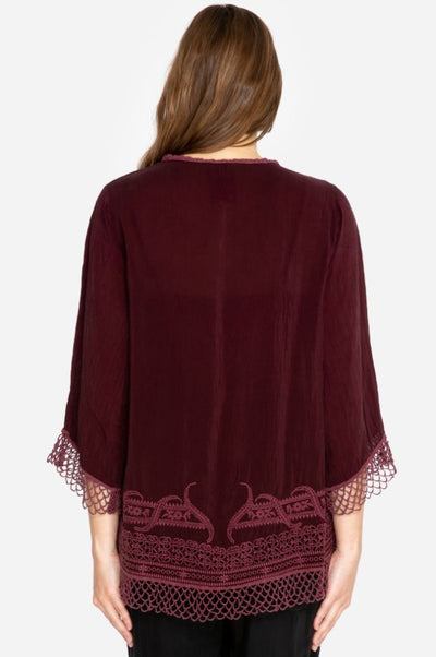 Johnny Was Assic Merlot Blouse
