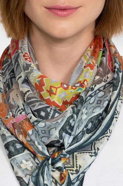 Johnny Was Silk Dralion Printed Scarf with Tassels