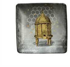 "4"" Square Stoneware Plate W/ Bees"
