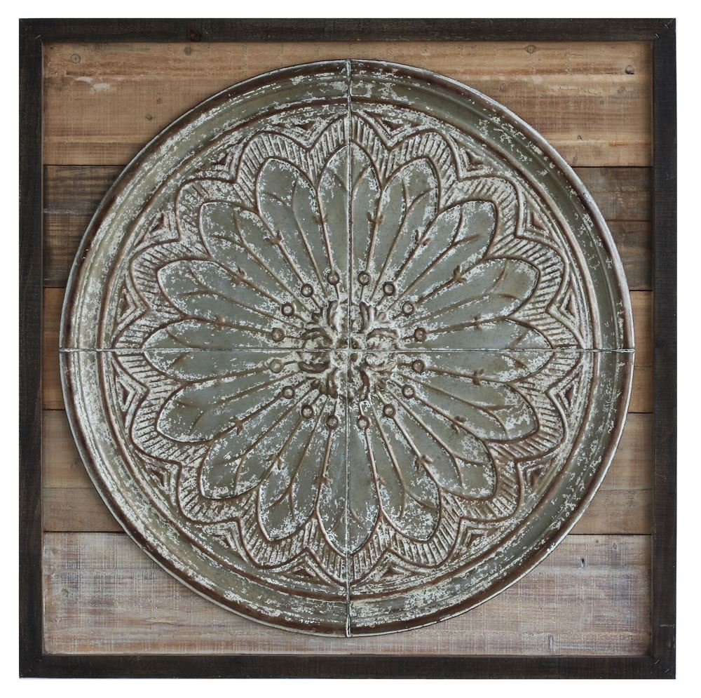 Square Wood & Embossed Tin Wall Decor
