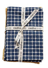 Cotton Tea Towels, Navy/Gold