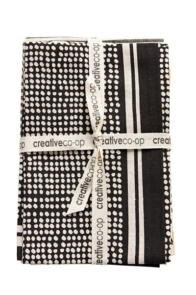 Cotton Tea Towels Set of 3 Black and White