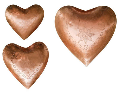 Metal Heart Tray With Copper Finish
