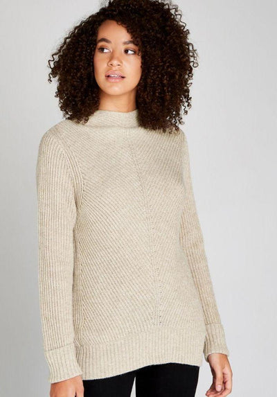 Apricot Ribbed Funnel Neck Stone Sweater