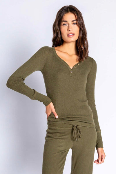 PJ Salvage Olive Ribbed Knit Long Sleeve Top