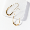 Elongated Smooth Hoop Brass Earring