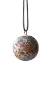 Metal Ball Ornament w/ Leather Hanger