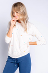 PJ Salvage Retro Lounge Long Sleeve Oatmeal Top