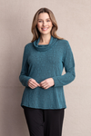 Habitat Crossroads Pucker Drape Neck Tunic in Dragonfly