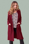 Tribal Boiled Wool Coat in Cabernet