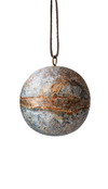 "Metal Ball Ornament w/ Leather Hanger - 3"" Round"