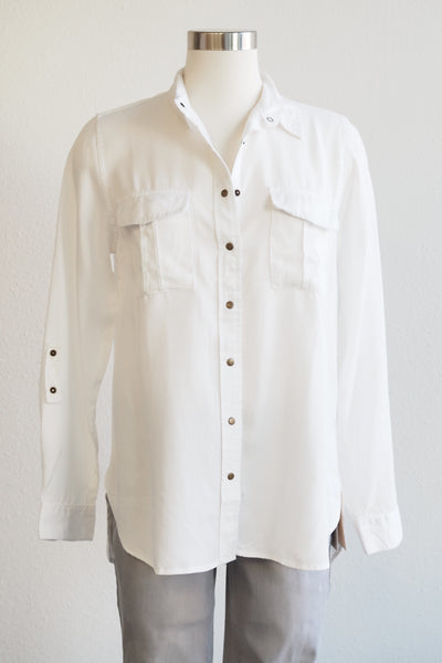 Paparazzi Button Front White Shirt