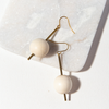 White Ball On Stick Earrings