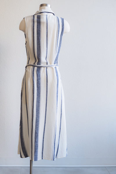 Paparazzi Button Front White/Indigo Stripe Dress