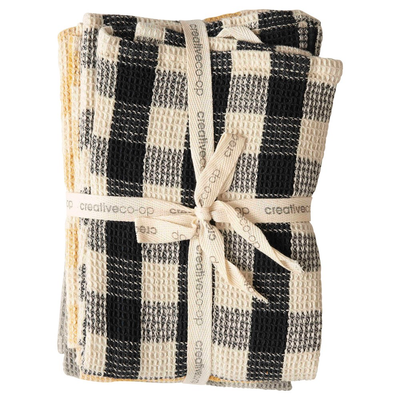 Cotton Waffle Weave Tea Towels, Gingham, Set of 3