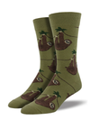 Sloth Men Socks-Olive