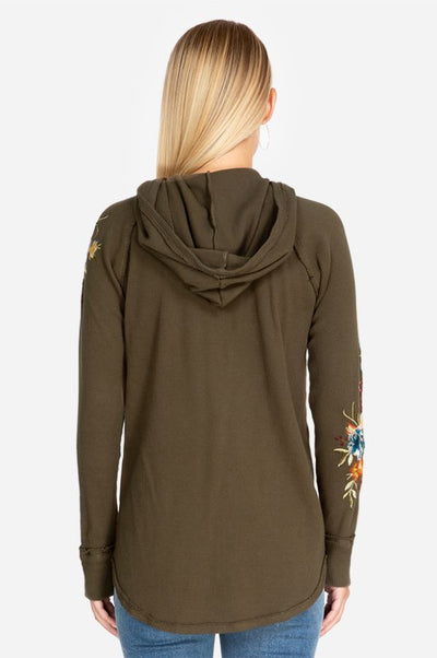 Johnny Was Isla Hooded Thermal - Vintage Army Green