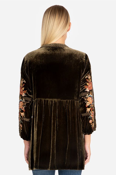 Johnny Was Zaret V-Neck Mandarin Velvet Tunic - Tiger Eye