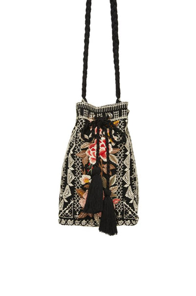 Johnny Was Paola Drawstring Bucket Bag