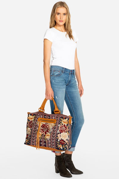 Johnny Was Artemia Embroidered Overnight Tote Handbag
