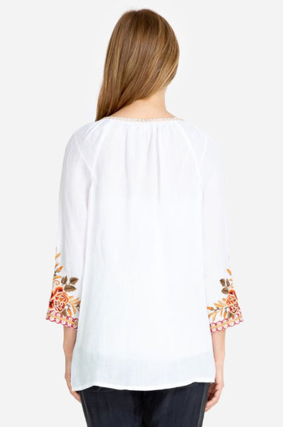 Johnny Was Charlotte Peasant White Top