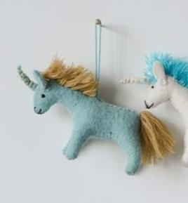 Wool Felt Unicorn Ornament