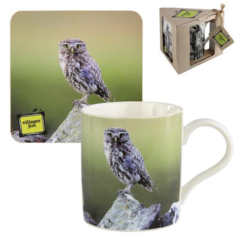 Villager Jim Lucy Little Owl Mug & Coaster Gift Set - Roy Perfect LTD Gifts