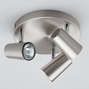Lampsy Adams 3 Light Round Spotlights - Satin Nickel-Lampsy