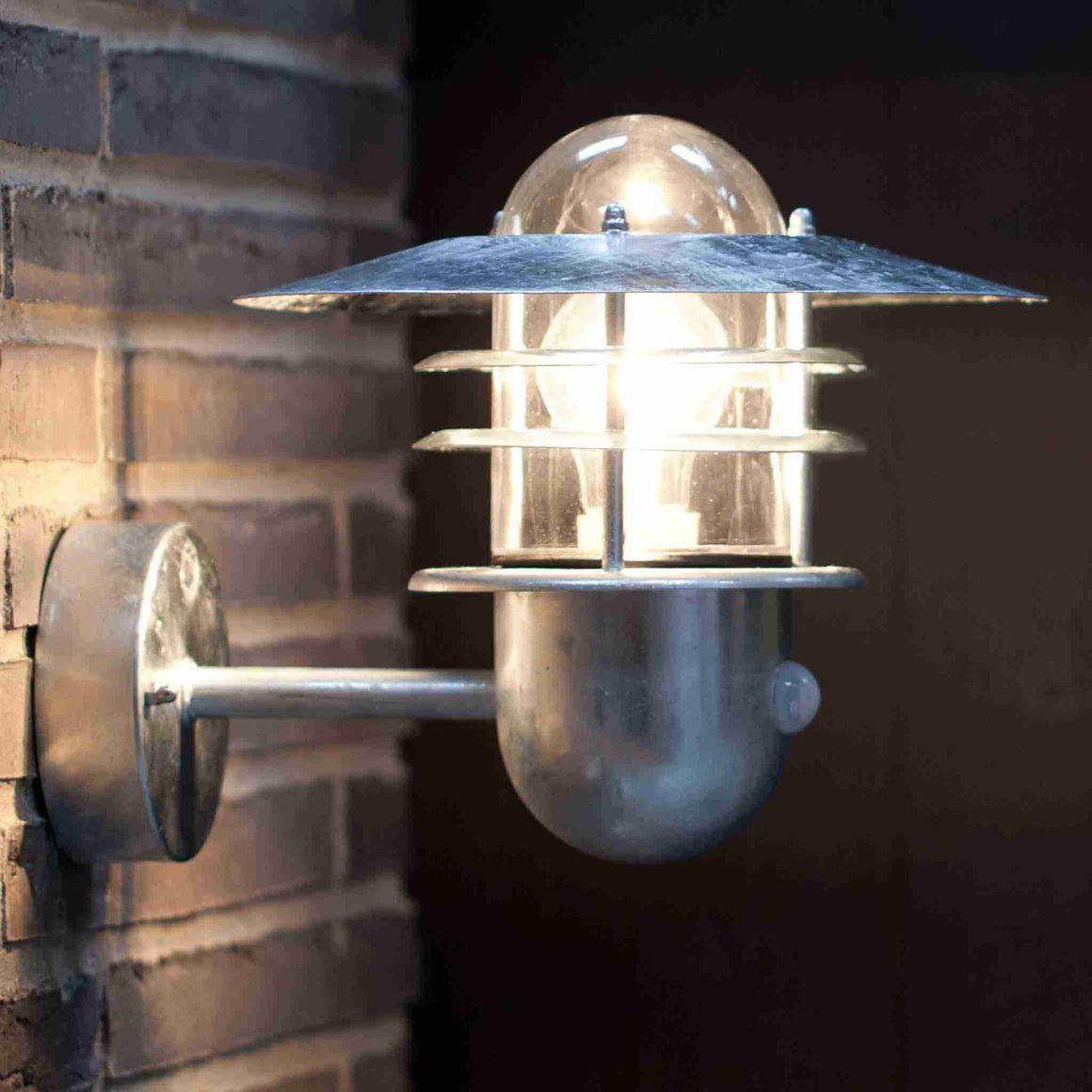 Nordlux Agger Galvanised Outdoor Sensor Wall Light - Outdoor Lighting - Lampsy