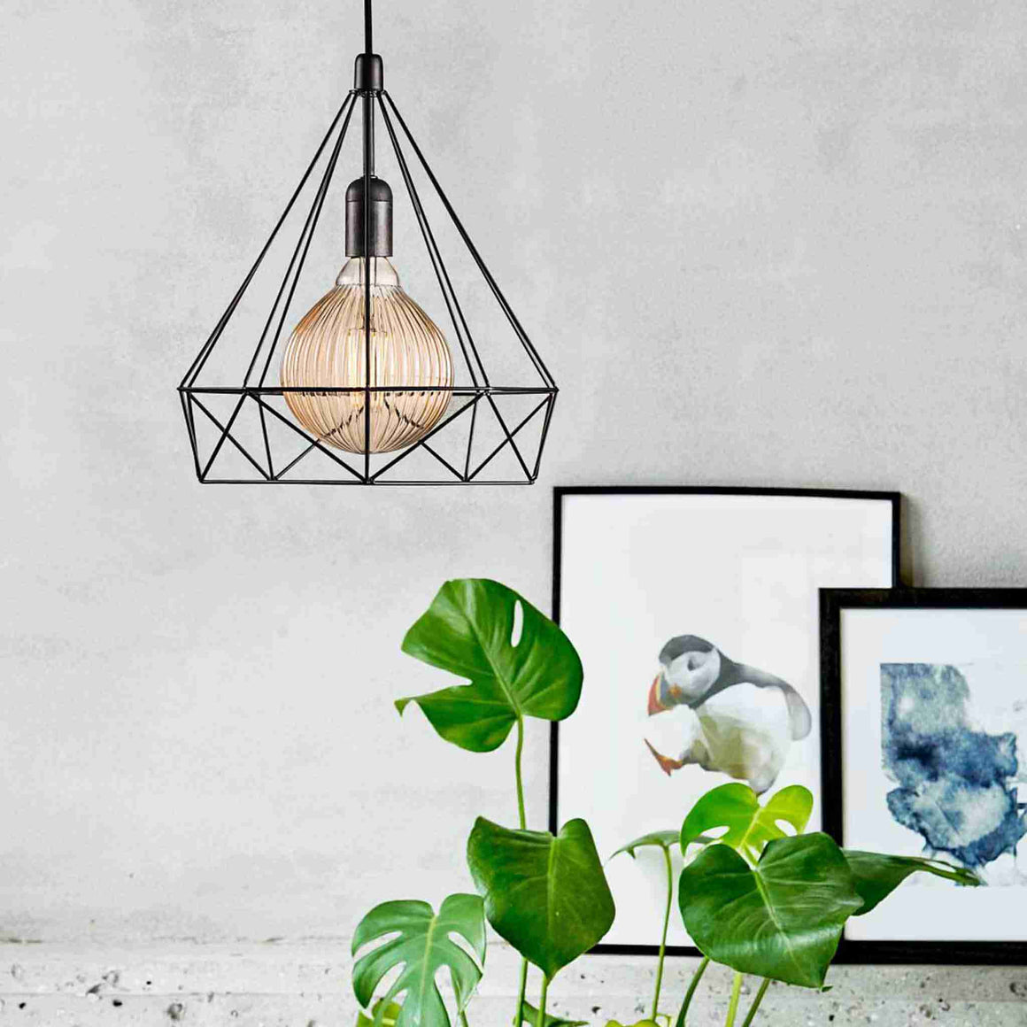 Nordlux Aire Geometric Cage Wire Pendant Light - Black - Ceiling Lights - Lampsy