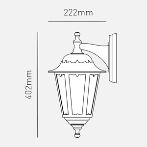 Lampsy Arlington 6 Panel Outdoor Wall Lantern - -Lampsy