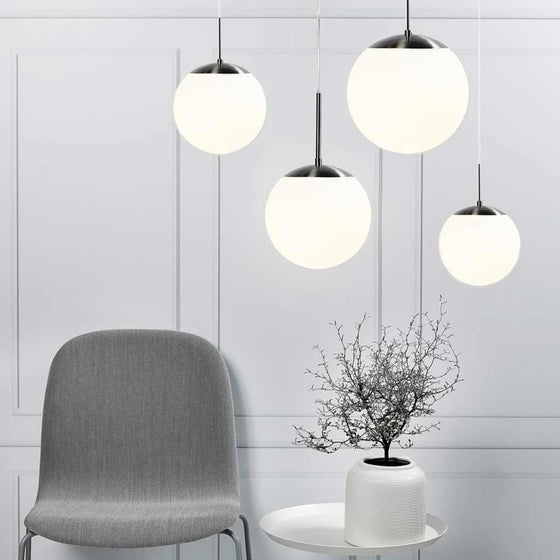 Nordlux Cafe 15 Pendant Light - Opal/Chrome - Ceiling Lights - Lampsy