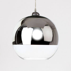 Lampsy FLR Dipped Glass Globe Pendant - Chrome-Lampsy