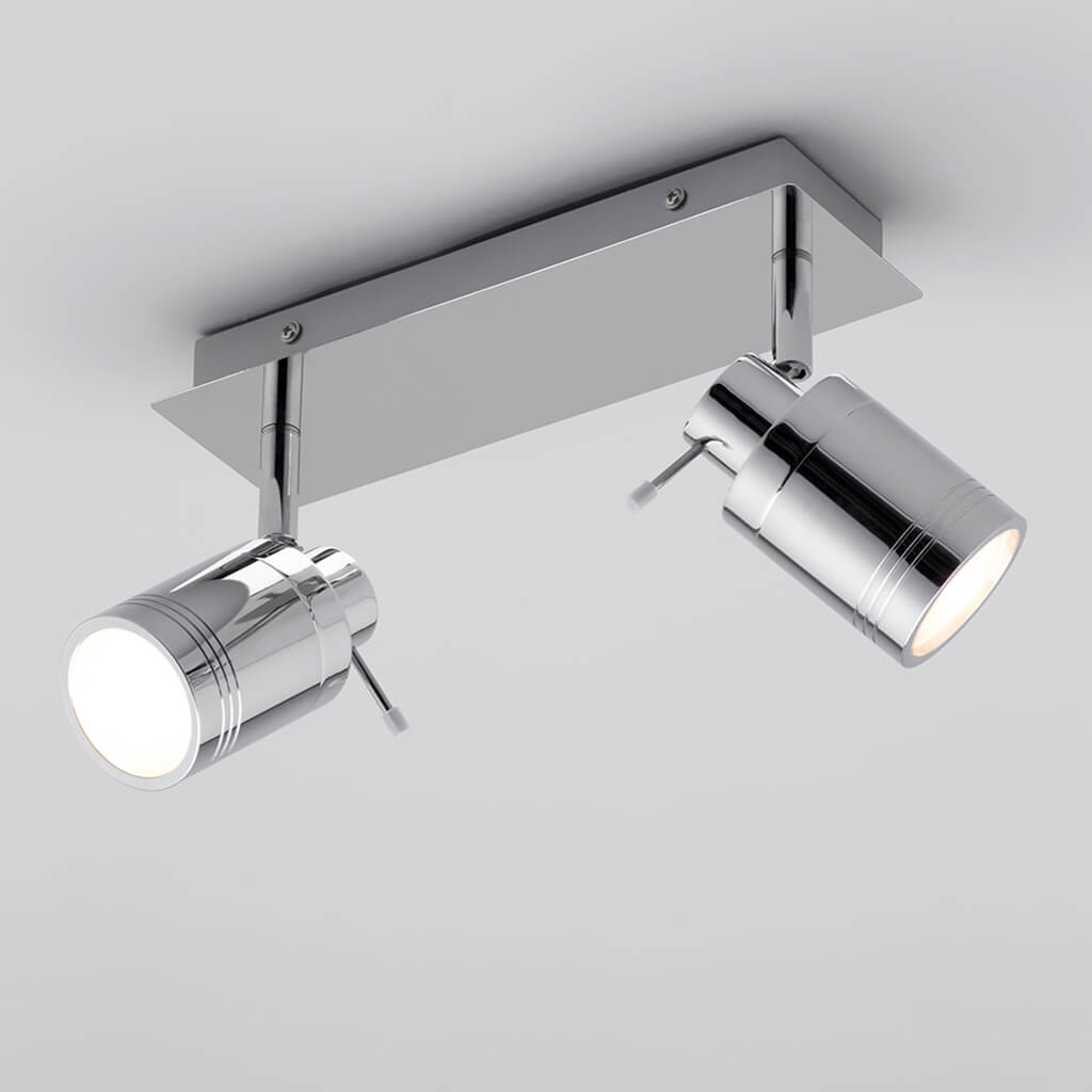 Denley Chrome 2 Spotlight Bar Bathroom Light & Bathroom Spotlights - Lampsy